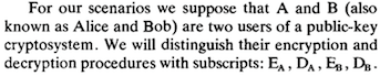Detail of RSA paper, mentioning Alice and Bob